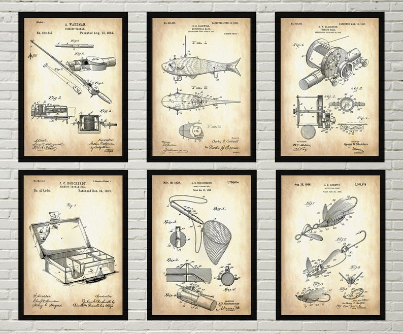 Image That Showing The Fishing Patents That Denotes Vintage Print.