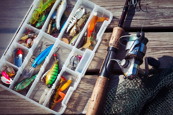Fishing Tackles & Gears In Box.