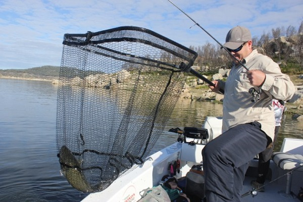 A Man Thrown & Caught A Fish In His Fishing Net.