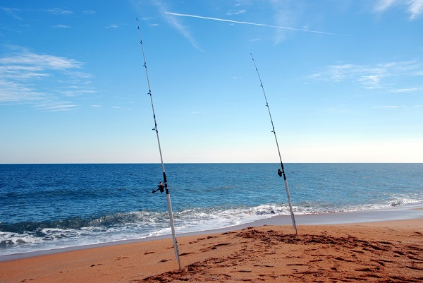 Two Different Kinds Of Fishing Rods Placed On The Beach.