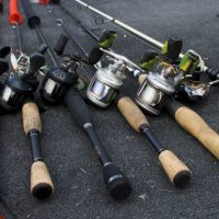 Tox Fishing Rods Isolated On Black Background.
