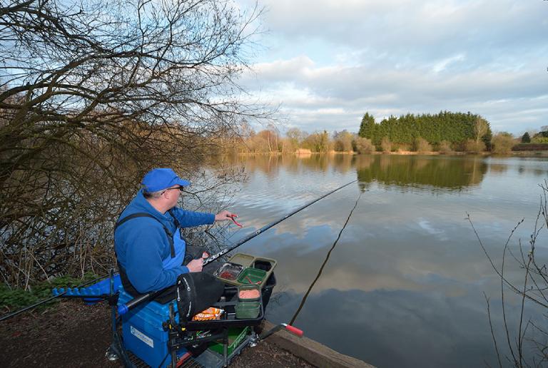 A Man Polefishing In A Lake.